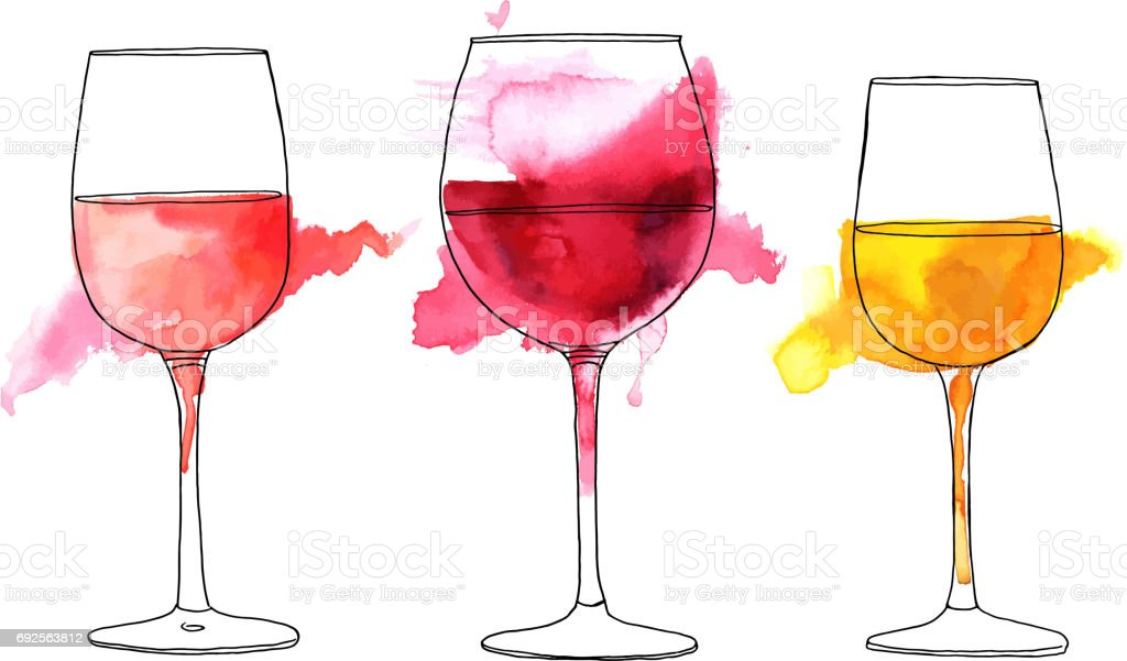 Ensemble de vecteur et dessins aquarelle de verres à vin - Illustration vectorielle
