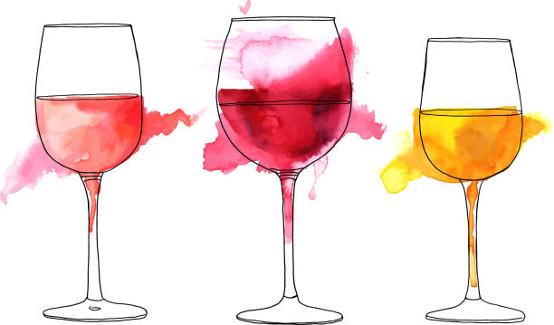 Set of vector and watercolor drawings of wine glasses A set of vector and watercolor drawings of glass of rose, red, and white wine with splashes of paint, on white background wine stock illustrations