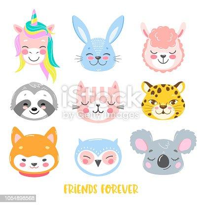 Set of vector animals in cartoon style. Cute smiley unicorn, bunny, llama, sloth, cat, leopard, dog, owl and koala faces