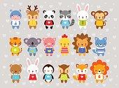 Set of vector animals in cartoon style.