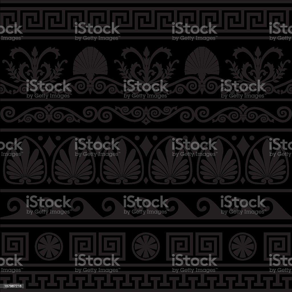 Set of vector antique greek borders vector art illustration
