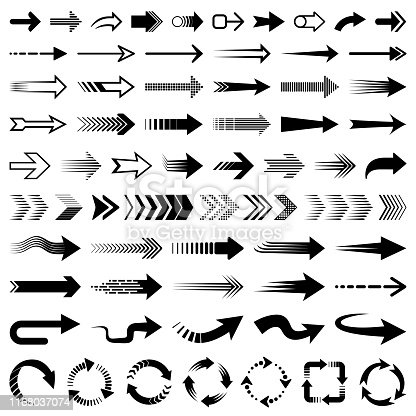Set of vector arrows. Different shapes of arrows, design elements, icon set.