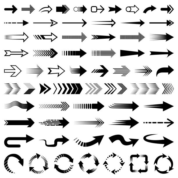set of vector arrows - arrows stock illustrations