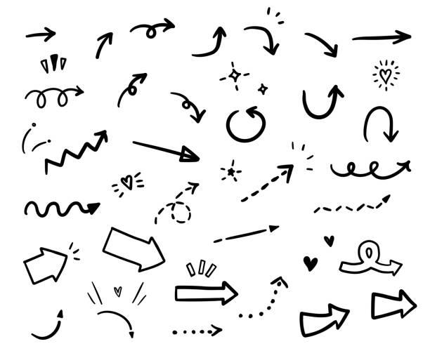 zestaw strzałek wektorowych. - bazgroły rysunek stock illustrations