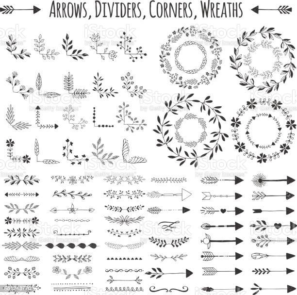 Set of vector arrows wreaths corners and dividers hand drawn design vector id651243770?b=1&k=6&m=651243770&s=612x612&h= uphznak37gmrzznem5wp2jr obn9pfrgp5ulontfky=
