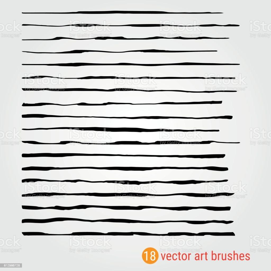 Set of vector art brushes. Style Handmade. Texture. Ink paintbrush. vector art illustration