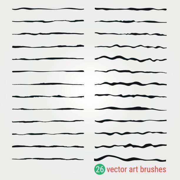 illustrazioni stock, clip art, cartoni animati e icone di tendenza di set of vector art brushes. style of handmade. ink paintbrush. samples are stored in the palette. - sfondo scarabocchi e fatti a mano