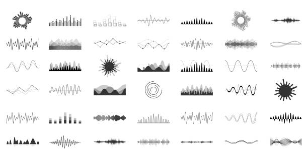 Set of vector audio scales. Vector sound waves set. Audio Player. Audio equalizer technology, pulse musical. Vector illustration. backgrounds symbols stock illustrations
