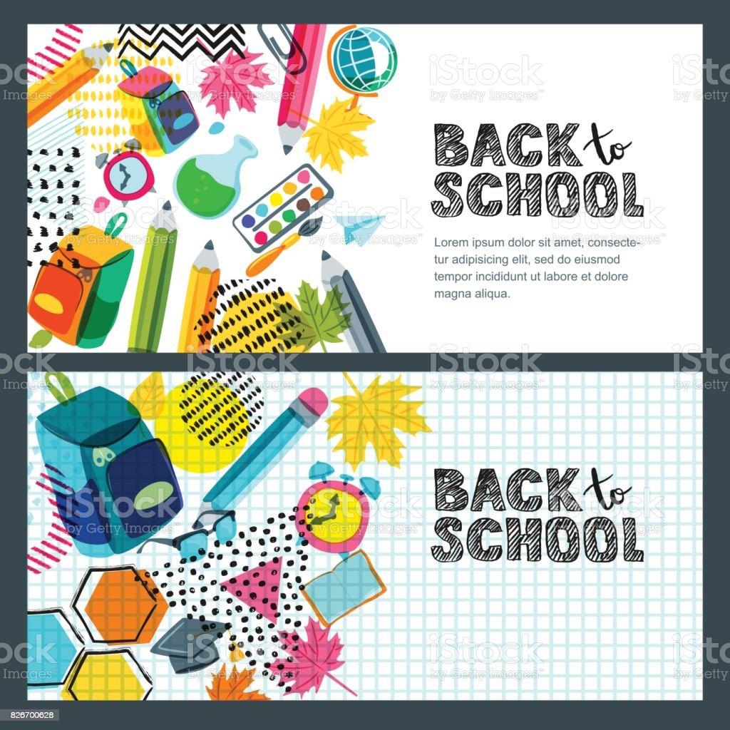 Conjunto de vector hacia la bandera de venta escolar, Fondo de cartel. Letras de bosquejo dibujado mano, lápices multicoloras. - ilustración de arte vectorial