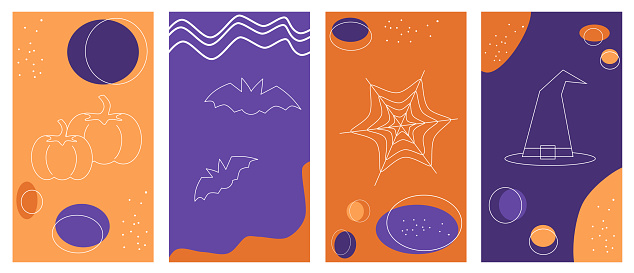 Set of vector backgrounds in simple linear style for social media platform, stories, banner with halloween elements