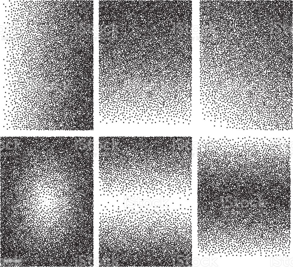 Set of vector backgrounds with gradient transitions from black points. vector art illustration