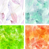 A set of vector backgrounds with skeleton leaves, representing the four seasons of the year, toned in the hues of each season