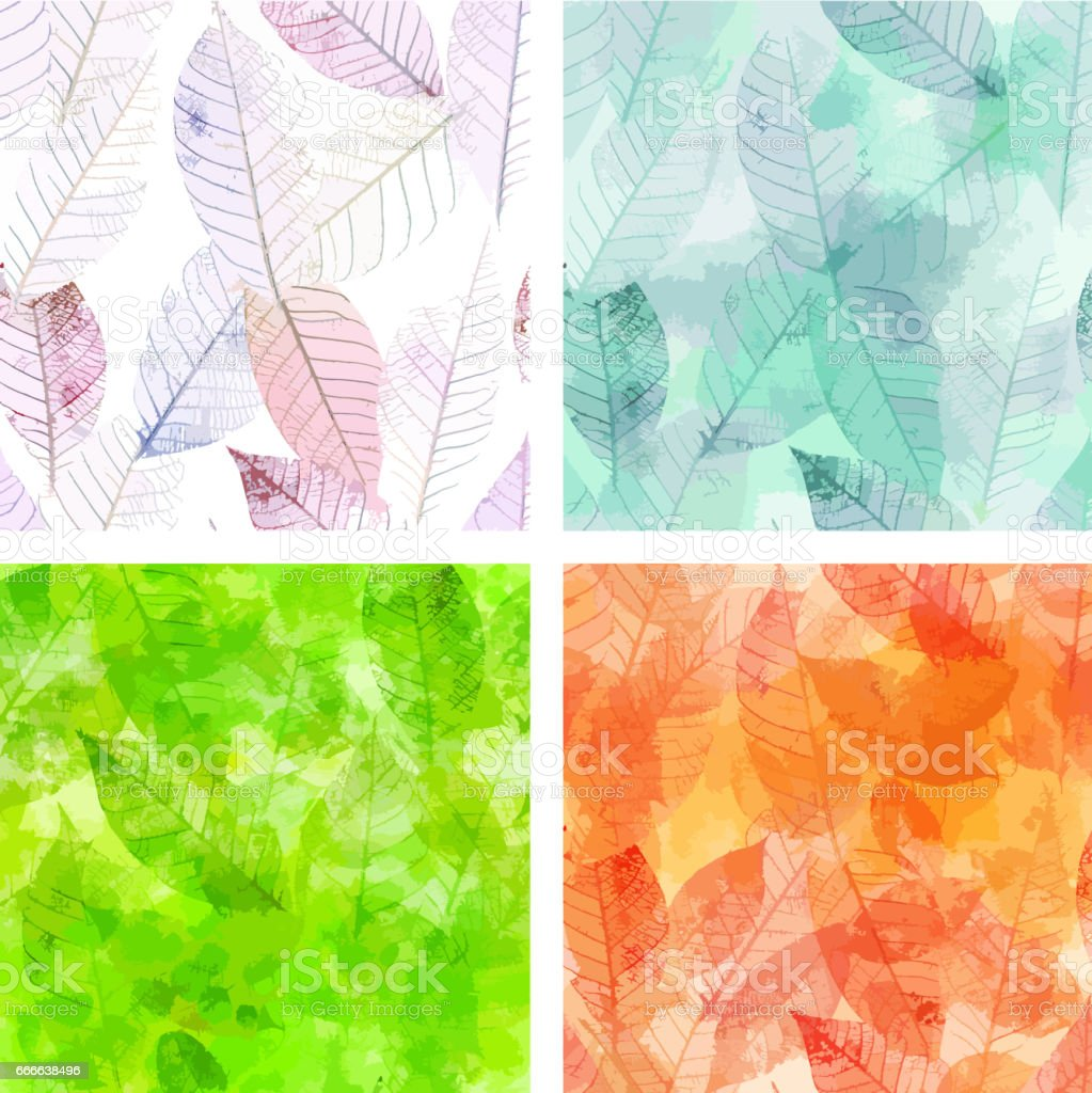 Set of vector backgrounds with skeleton leaves vector art illustration