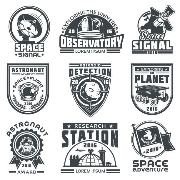 set of vector badges space. - sternwarte stock-grafiken, -clipart, -cartoons und -symbole