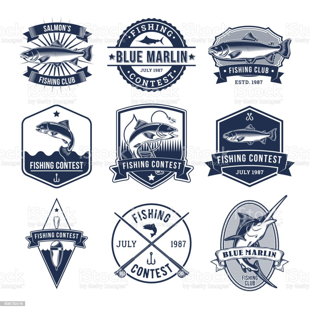 Set of vector badges, stickers on catching fish. vector art illustration