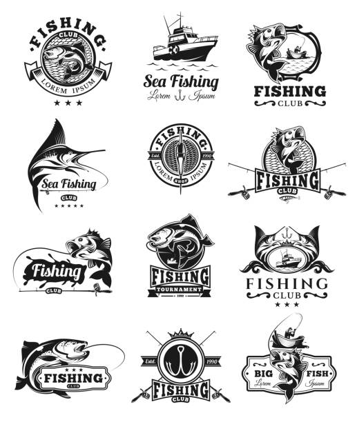 ilustraciones, imágenes clip art, dibujos animados e iconos de stock de set of vector badges, stickers on catching fish. - pesca