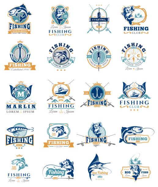 zestaw odznak wektorowych, naklejki na łowienie ryb. - rybactwo stock illustrations