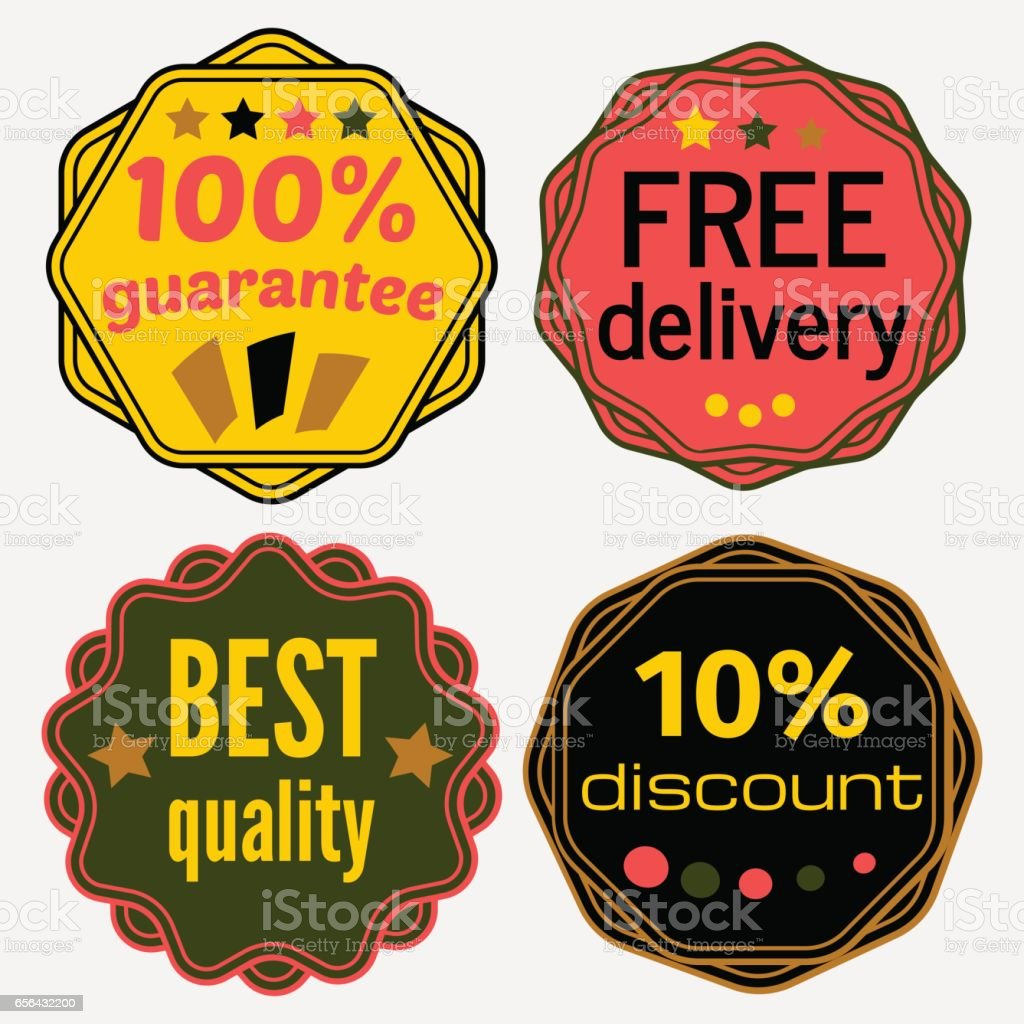 Set Of Vector Badges With Ribbons Stock Vector Art & More Images of  Backgrounds