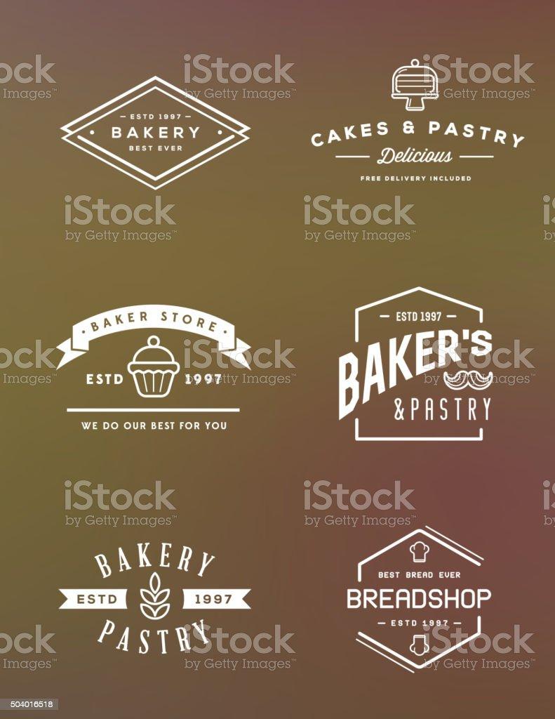 Vector conjunto de elementos de pastelería y panadería - ilustración de arte vectorial