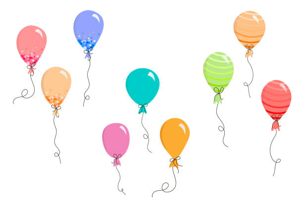 Set of vector balloons in Doodle style, colorful balloons for holidays vector art illustration