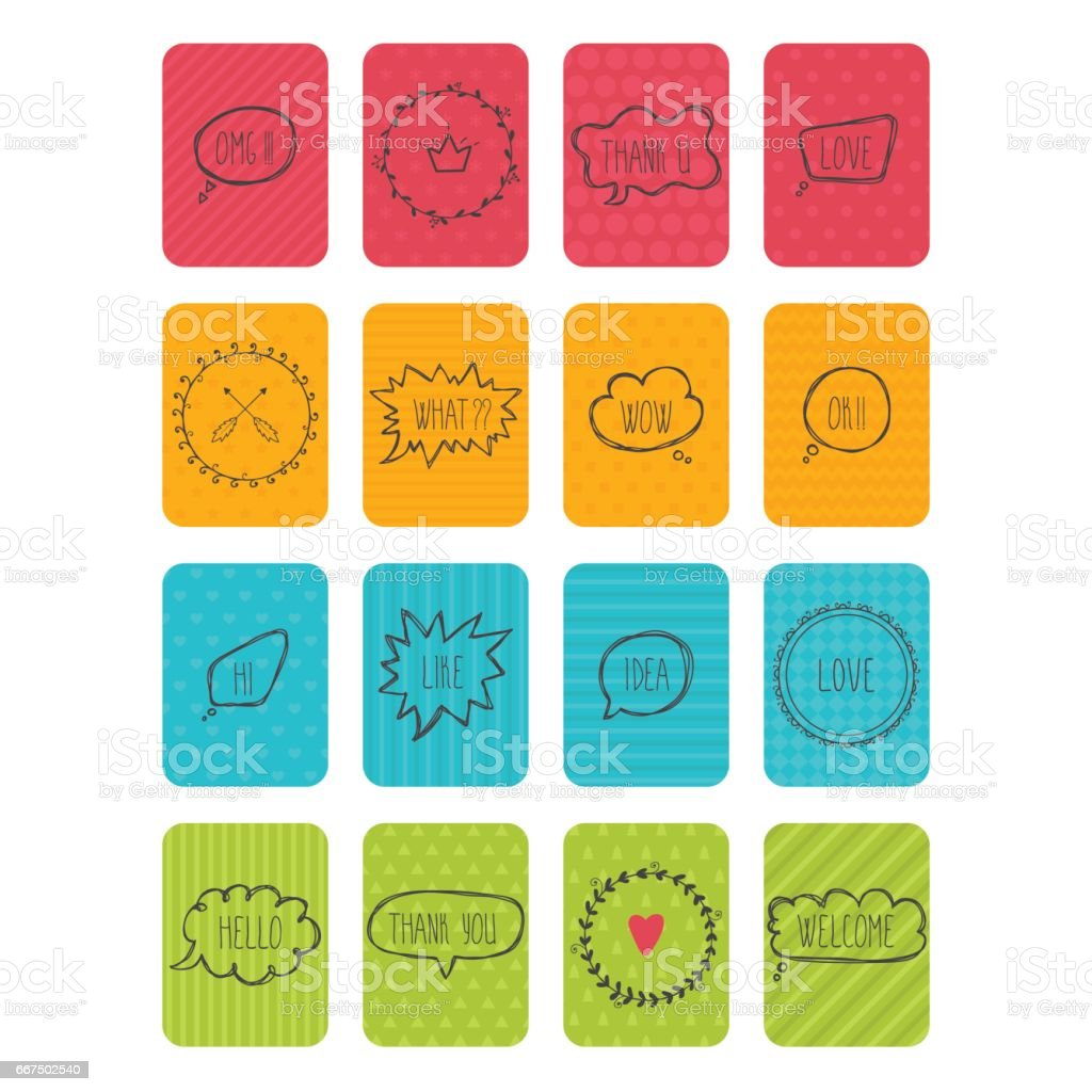 Set of vector banners. Cute cards with speech bubbles and frames. Collection of stickers and labels vector art illustration
