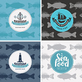 Set of vector banners for seafood shop and restaurant with emblems on the background of seamless pattern with fishes in retro style.