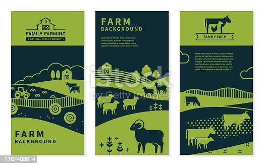 Set of vector banners on rural themes, farm background, family farming. Great for print and internet.