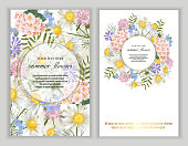 Set of Vector banners with wildflower flowers. Template for greeting cards, wedding decorations, invitation, sales, packaging. Spring or summer design. Floral poster, invite.