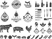Barbecue labels. BBQ, meat, vegetables, beer, wine and equipment icons for cafe, bar and restaurant menu, branding and identity.