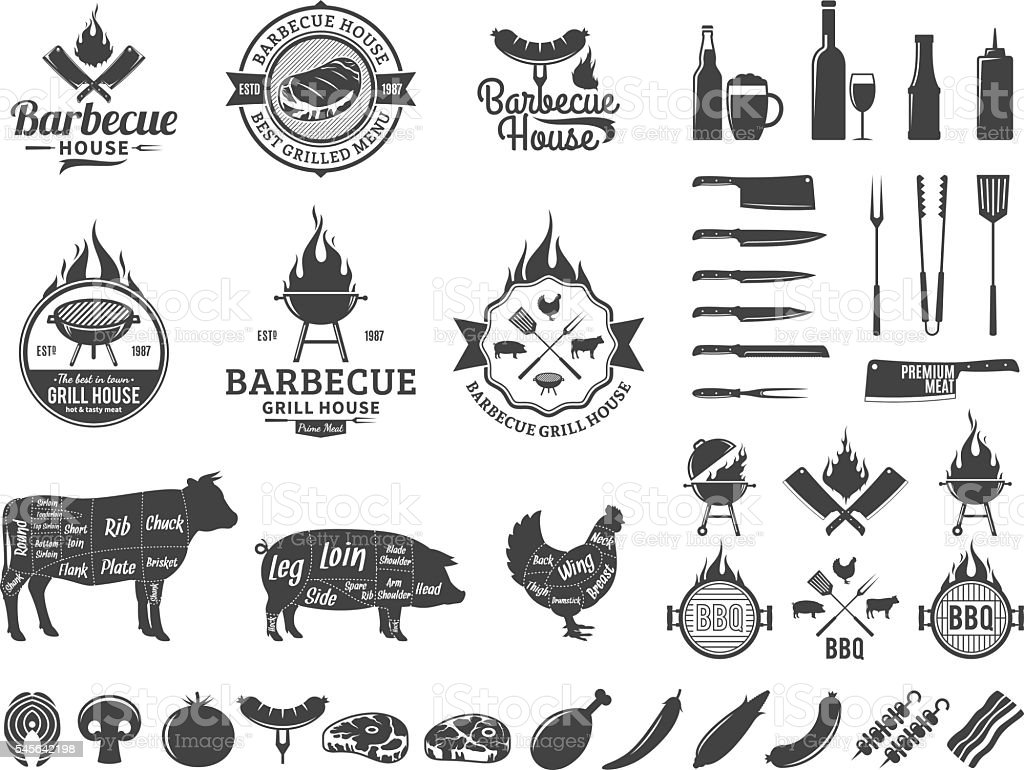 Set of vector barbecue labels and icons - ilustración de arte vectorial