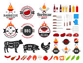 Vector barbecue icons and labels. BBQ, meat, vegetables, beer, wine and barbecue equipment icons.
