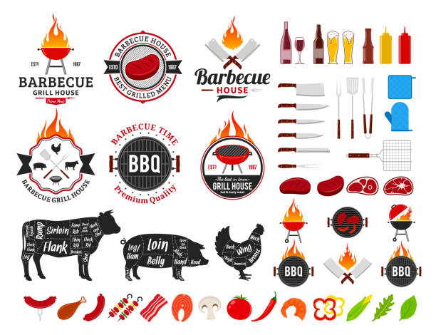 set of vector barbecue labels, icons and design elements - grill stock illustrations
