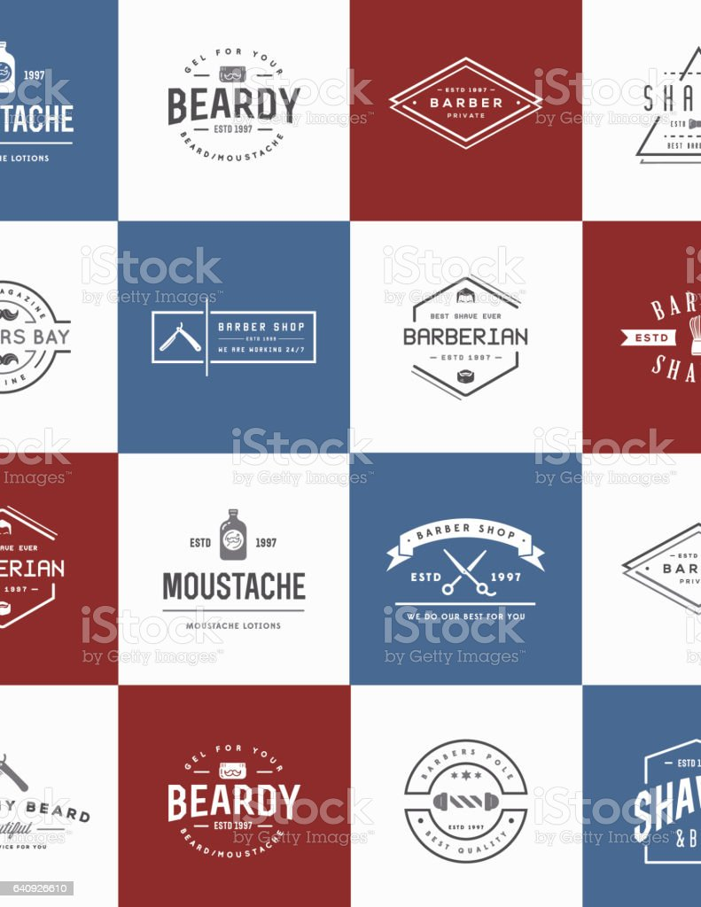 Set of Vector Barber Shop Elements and Shave Shop Icons Illustration can be used as Logo or Icon in premium quality - illustrazione arte vettoriale