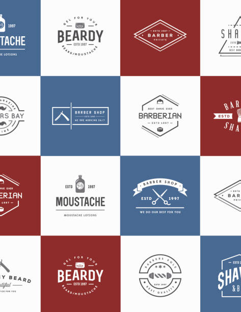 Set of Vector Barber Shop Elements and Shave Shop Icons Illustration can be used as Logo or Icon in premium quality vector art illustration
