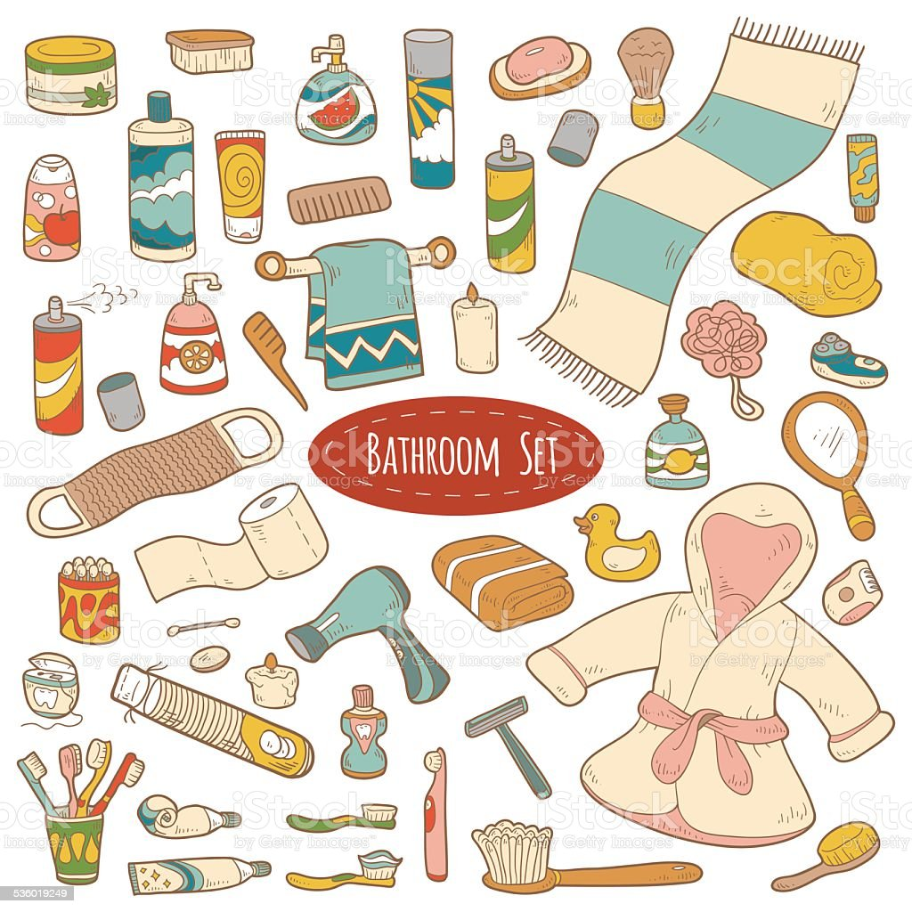 Set of vector bathroom and personal hygiene items vector art illustration