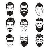 Set of vector bearded hipster men faces. Haircuts, beards, mustaches set. Handsome man emblems icons.