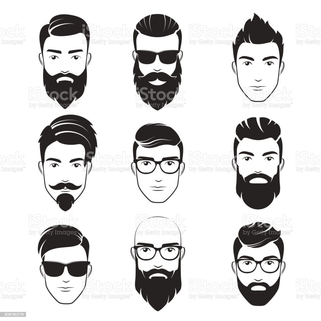 Set of vector bearded hipster men faces. Haircuts, beards, mustaches set. Handsome man emblems icons. vector art illustration