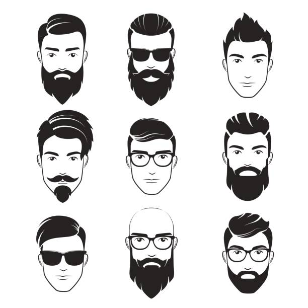 ilustrações de stock, clip art, desenhos animados e ícones de set of vector bearded hipster men faces. haircuts, beards, mustaches set. handsome man emblems icons. - barba
