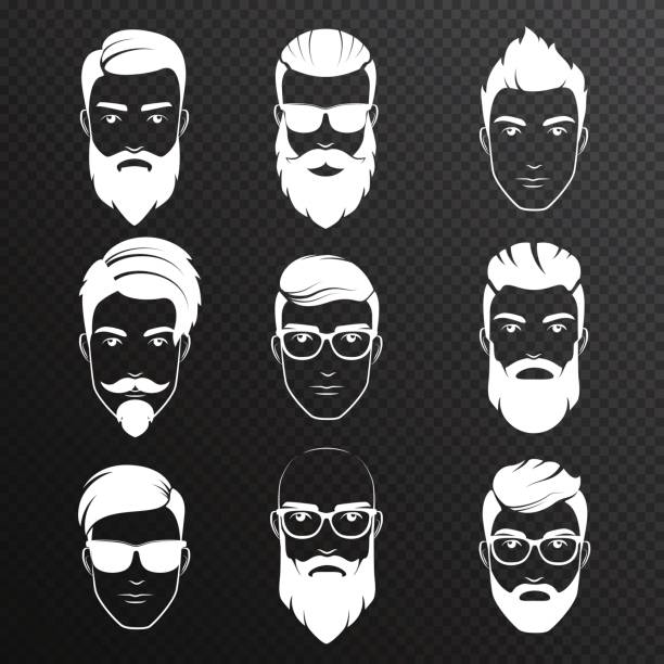 set of vector bearded hipster men faces on the transperant alpha background. white color haircuts, beards, mustaches set. handsome man emblems icons. - old man hair stock illustrations, clip art, cartoons, & icons