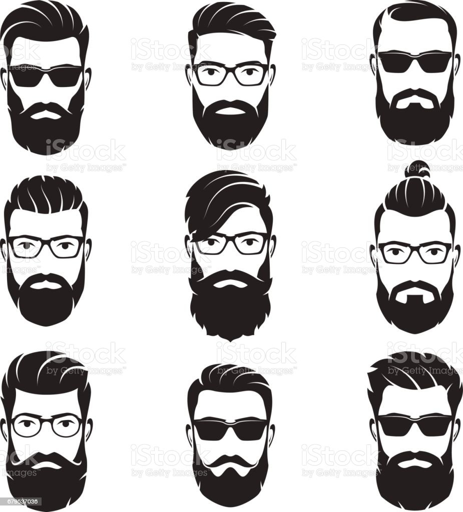 Set of vector bearded men faces hipsters vector art illustration