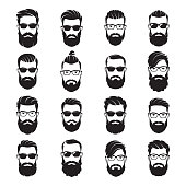 Set of vector bearded men faces hipsters with different haircuts, mustaches, beards, sunglasses. Silhouettes, avatars, emblems, icons labels
