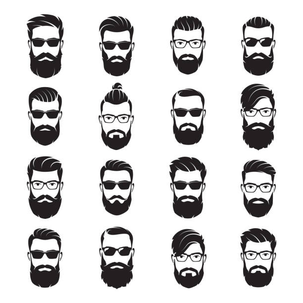 ilustraciones, imágenes clip art, dibujos animados e iconos de stock de conjunto de vector barbudos hipsters de rostros de hombres con diferentes cortes de cabello, bigotes, barbas, gafas de sol. - peinado
