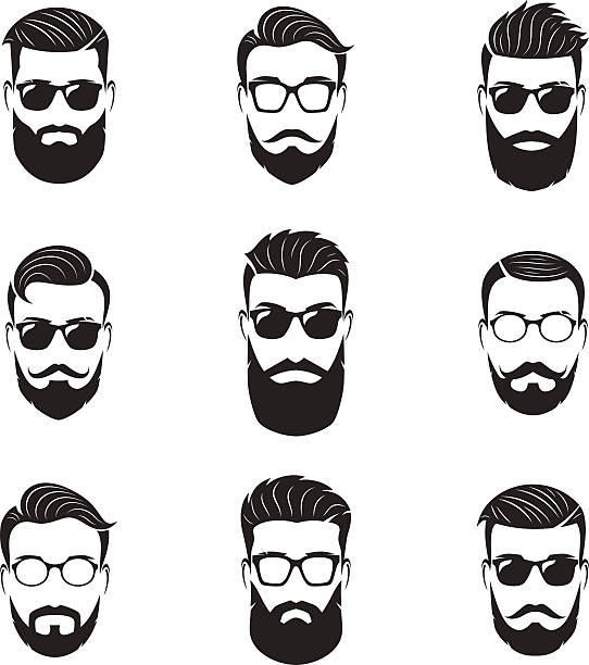 set of vector bearded men faces, hipsters with different hairstyles - 힙스터 사람 stock illustrations