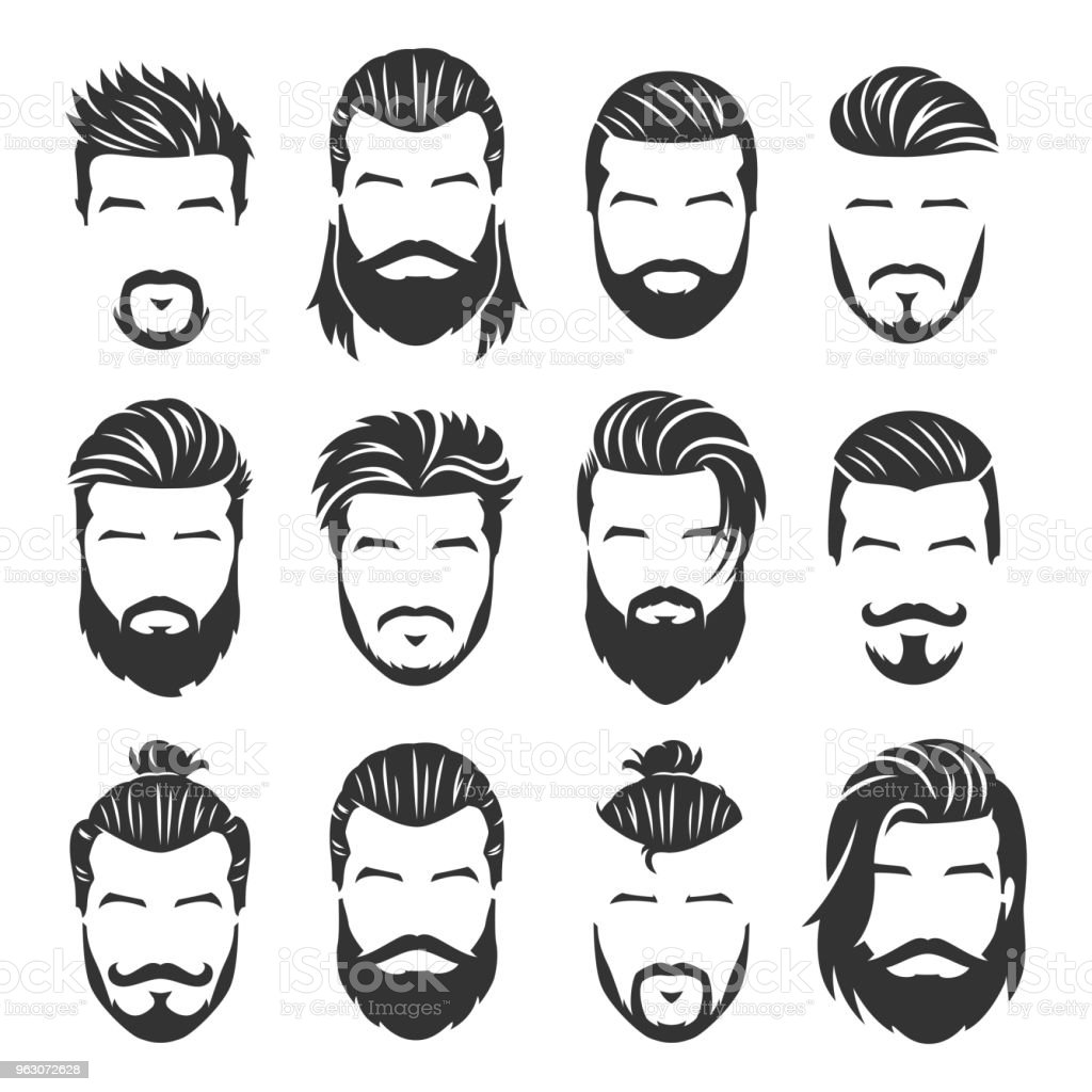 Incredible 12 Set Of Vector Bearded Men Faces With Different Haircuts And Natural Hairstyles Runnerswayorg