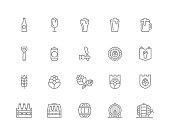 Set of vector beer and bar, pub line icons. Alcohol, bottle, mug, barley, hop, barrel, ale, froth, keg, beaker, jar and more. Editable Stroke.