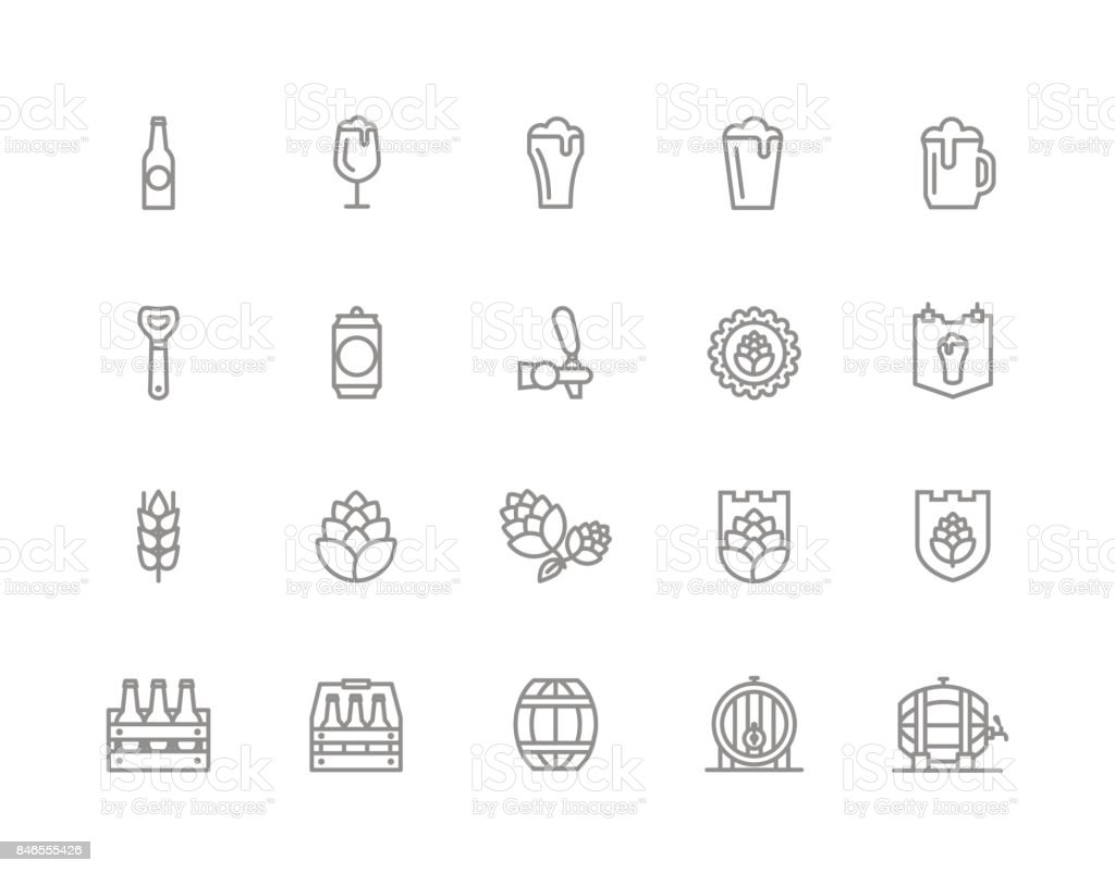 Set of vector beer and bar, pub line icons. Alcohol, bottle, mug, barley, hop, barrel, ale, froth, keg, beaker, jar and more. Editable Stroke. - illustrazione arte vettoriale