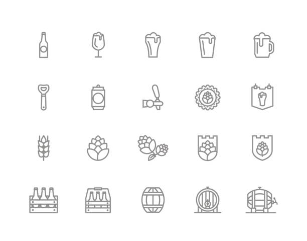 Set of vector beer and bar, pub line icons. Alcohol, bottle, mug, barley, hop, barrel, ale, froth, keg, beaker, jar and more. Editable Stroke. vector art illustration