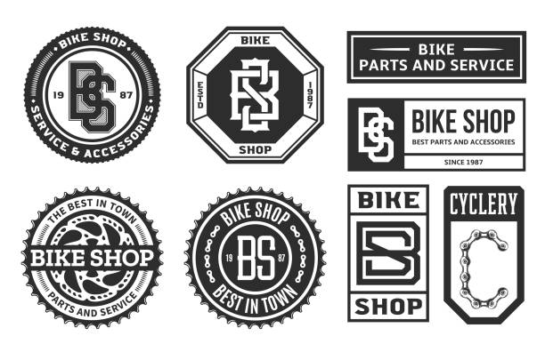 Set of vector bike shop, bicycle part and service logo Set of vector bike shop, bicycle part and service logo, badges and icons isolated on a white background bicycle chain stock illustrations