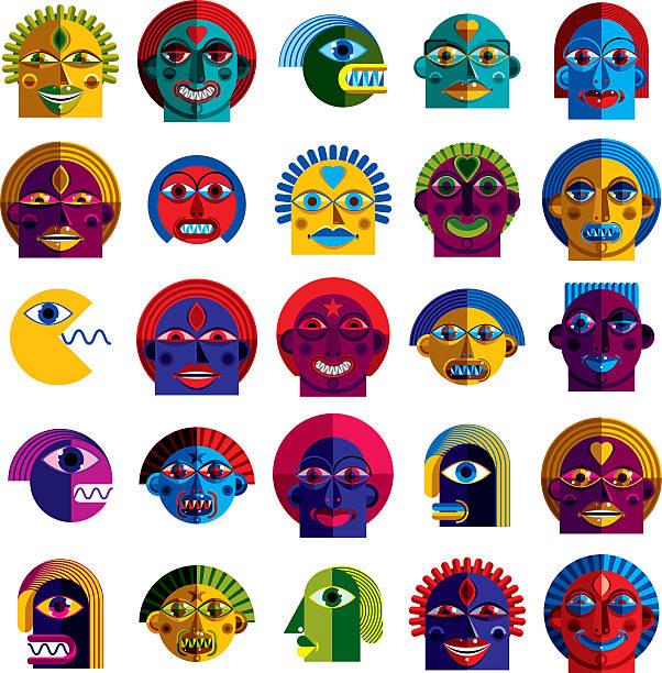set of vector bizarre creatures, modern art colorful drawings - avantgarde stock-grafiken, -clipart, -cartoons und -symbole