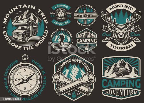 istock Set of vector black and white logos for the camping theme 1188466639